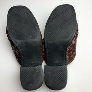 Vintage Shoes - Vintage Leather Collection Brown Woven Mules Heels